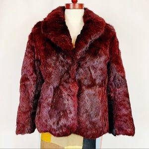 Vintage 70s Dino Ricco Burgundy Rabbit Fur Coat M
